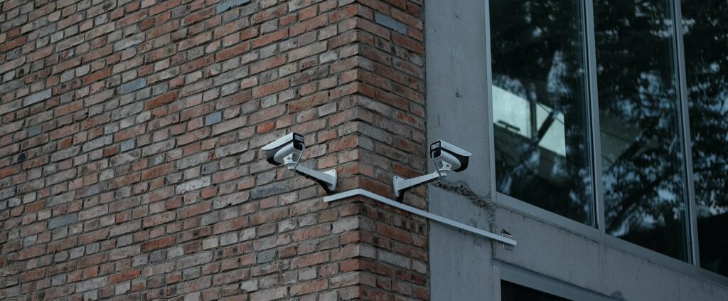 Surveillance cameras placed outside of a building