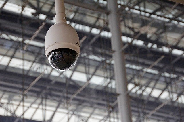 360 surveillance system camera for monitoring factory space.